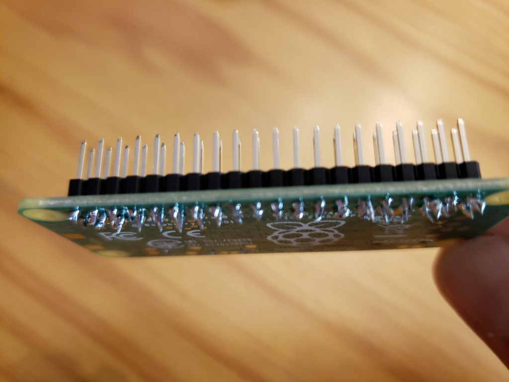 Raspberry Pi Zero with male GPIO headers soldered
